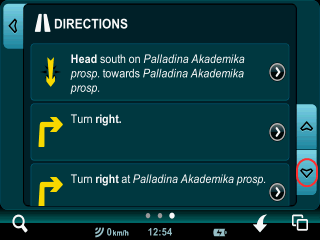 Route directions in Mireo